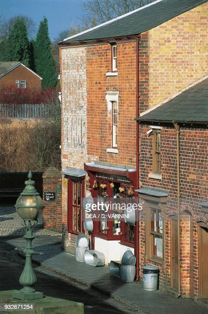 Red brick building and shop, Black Country Living Museum, Dudley, West Midlands, United Kingdom.