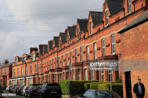 Red brick row of terraced housing, Ranelagh district, city of Dublin, Ireland, Irish Republic.