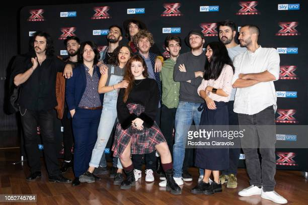 Red Bricks Foundation Lodo Guenzi Seveso Casino Palace and BowLand attend X Factor 2018 photocall at Teatro Linear Ciak on October 22 2018 in Milan...