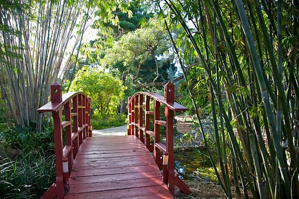 Red bridge over pond near bamboo in garden