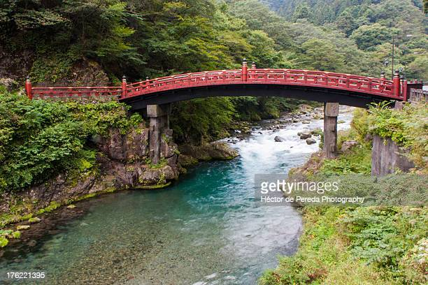 red bridge - nikko city stock pictures, royalty-free photos & images