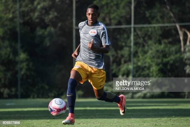 Red Bull Brazil's football player Luis Phelipe Souza takes part in a training session at the training center in Jarinu some 70 km from Sao Paulo...