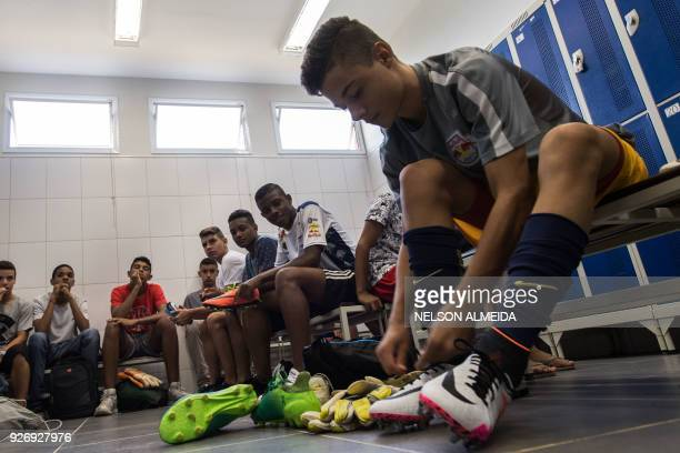 Red Bull Brazil's football player Thomas Bueno Amaral prepares for a training session at the training center in Jarinu some 70 km from Sao Paulo...