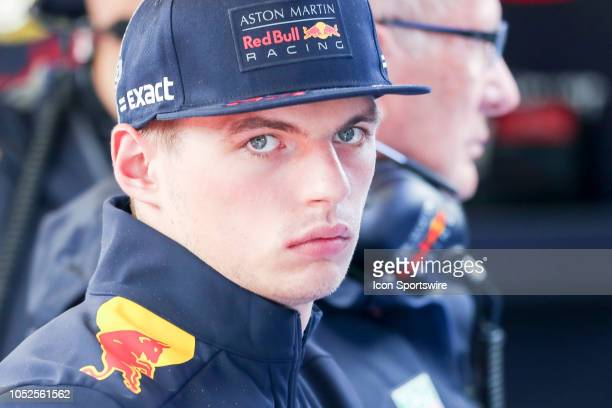 Red Bull driver Max Verstappen of Netherlands looks on during rain delay prior to afternoon practice for the F1 United States Grand Prix on October...