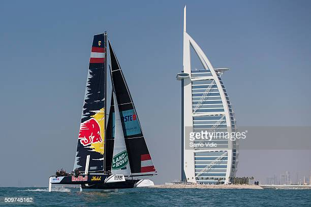 Red Bull Extreme Sailing team skippered by Roman Hagara in action on February 10 2016 in Dubai United Arab Emirates