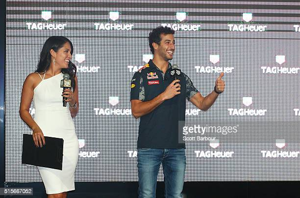 Red Bull Formula 1 Team driver Daniel Ricciardo is interviewed by Mel McLaughlin at the TAG Heuer Grand Prix Party at Luminare on March 15, 2016 in...