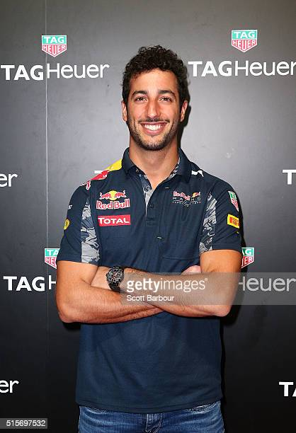 Red Bull Formula 1 Team driver Daniel Ricciardo poses at the TAG Heuer Grand Prix Party at Luminare on March 15 2016 in Melbourne Australia The party...