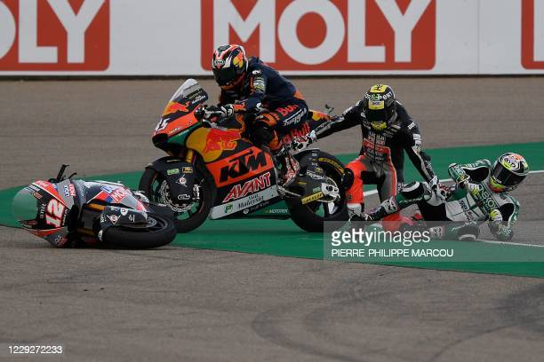 Red Bull KTM Ajo's Japanese rider Tetsuta Nagashima, Liqui Moly Intact GP's Swiss rider Thomas Luethi and Onexox TKKR SAG's Malaysian rider Kasma...