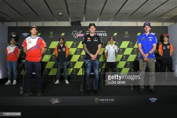 Red Bull KTM Ajo's Spanish rider Jorge Martin, Pramac Racing's French rider Johann Zarco, Red Bull KTM Factory Racing's Portuguese rider Miguel...