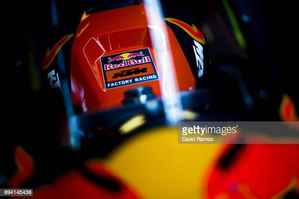 Red Bull KTM Factory Racing logo sits on Por Espargaro's bike during free practice for the MotoGP of Catalunya at Circuit de Catalunya on June 9 2017...