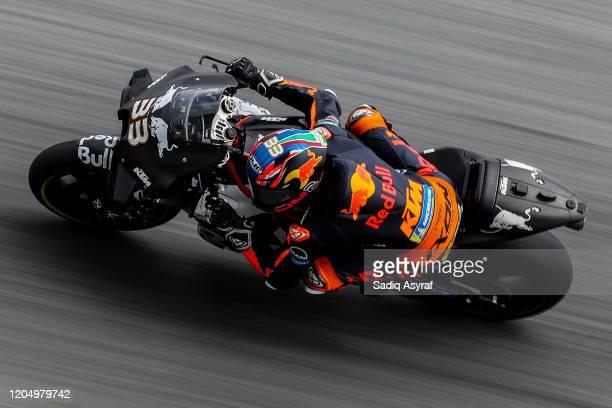 Red Bull KTM Factory Racing South African rider Brad Binder takes a corner during the MotoGP pre-season test at Sepang International Circuit on...