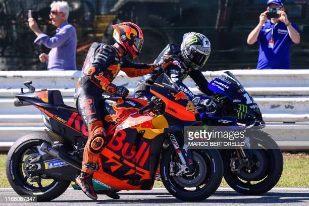 Red Bull KTM Factory Racing Spanish rider, Pol Espargaro congratulates Monster Energy Yamaha Spanish rider, Maverick Vinales after the Q2 qualifying...