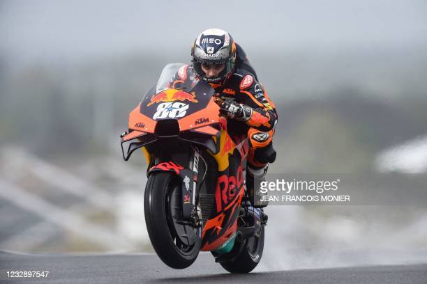 Red Bull KTM Factory Racing's Portuguese rider Miguel Oliveira rides during the third free practice session of the French Moto GP Grand Prix in Le...