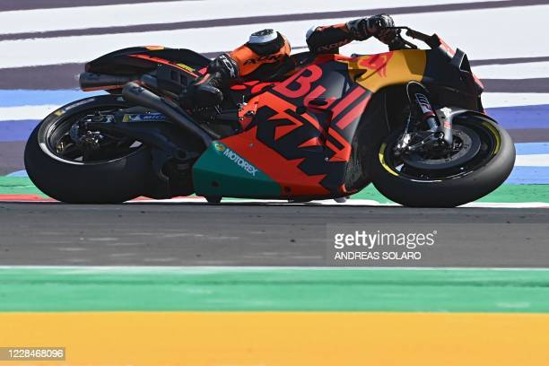 Red Bull KTM Factory Racing´s South African Brad Binder steers his bike during the qualifying session ahead of the San Marino MotoGP Grand Prix at...