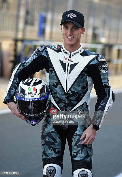 Red Bull KTM's new signing Spanish rider Pol Espargaro poses during the Moto GP test days at the Ricardo Tormo racetrack in Cheste on November 15...