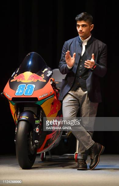 Red Bull KTM's Spanish rider Jorge Martin attends a press conference to present the Red Bull KTM MotoGP team for 2019 on February 12 2019 in...