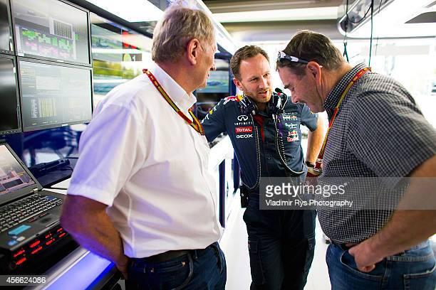 Red Bull Motorsport Consultant Dr Helmut Marko Infiniti Red Bull Racing Team Principal Christian Horner and Formula One Legend Nigel Mansell speak...
