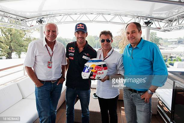 Red Bull owner Dietrich Mateschitz JeanEric Vergne of France and Scuderia Toro Rosso and former F1 drivers Jean Alesi and Gerhard Berger are pictured...