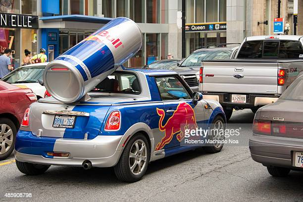 Red Bull publicity car with a huge replica of the red bull drink can Red Bull is an energy drink sold by Austrian company Red Bull GmbH and is the...