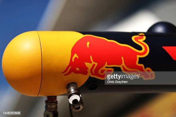 Red Bull Racing branding on their pit equipment during final practice ahead of the F1 Grand Prix of USA at Circuit of The Americas on October 23,...