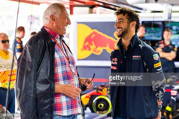 Red Bull Racing CEO Dietrich Mateschitz chats with Daniel Ricciardo of Red Bull Racing and Australia during the Spanish Formula One Grand Prix at...
