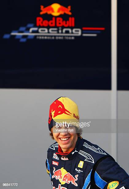 Red Bull Racing driver Sebastian Vettel of Germany attends the unveiling of the new RB6 during winter testing at the at the Circuito De Jerez on...