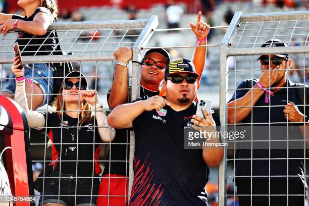 Red Bull Racing fans enjoy the podium celebrations during the F1 Grand Prix of USA at Circuit of The Americas on October 24, 2021 in Austin, Texas.