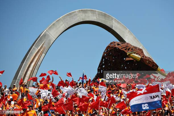 Red Bull Racing fans show their support before the F1 Grand Prix of Austria at Red Bull Ring on June 30, 2019 in Spielberg, Austria.