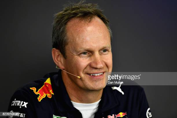 Red Bull Racing Head of Car Engineering Paul Monaghan talks in the Team Principals Press Conference after practice for the Formula One Grand Prix of...