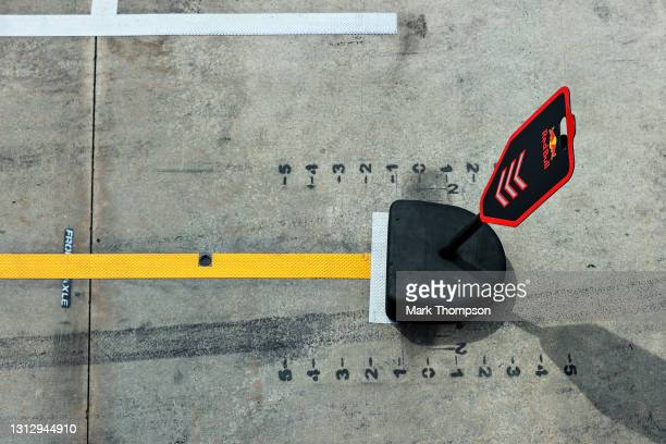 Red Bull Racing pitlane marker is seen during final practice ahead of the F1 Grand Prix of Emilia Romagna at Autodromo Enzo e Dino Ferrari on April...