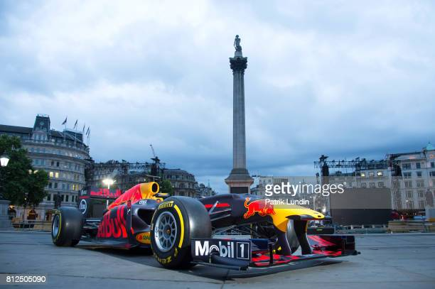 Red Bull Racing Showcar takes its place on Trafalgar Square in the build up to the F1 Live London event taking place on Wednesday 12th July from 12pm...