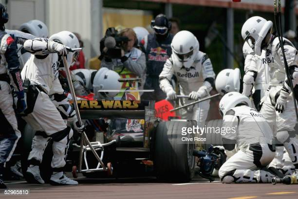 Red Bull Racing 'Strom Trooper' pitstop during the Monaco F1 Grand Prix on May 22 in Monte Carlo Monaco