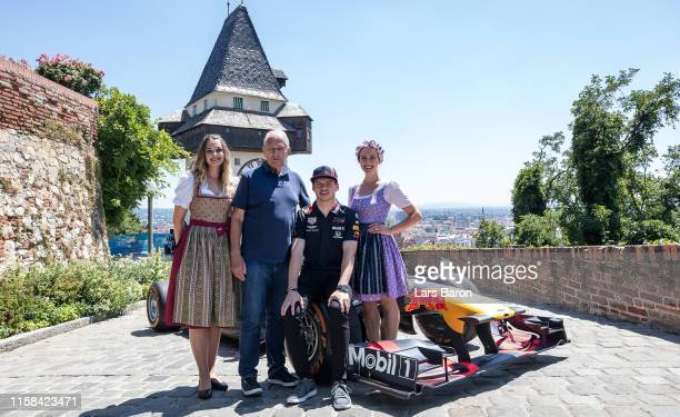 Red Bull Racing Team Consultant Dr Helmut Marko and Max Verstappen of the Netherlands and Red Bull Racing pose for a picture after the Show Run at...