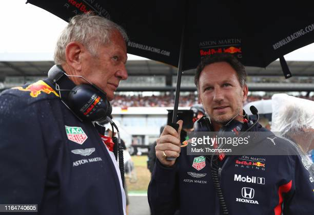 Red Bull Racing Team Consultant Dr Helmut Marko and Red Bull Racing Team Principal Christian Horner talk on the grid before the F1 Grand Prix of...
