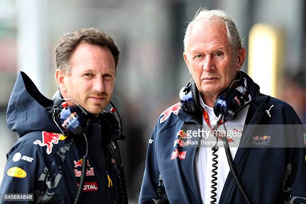 Red Bull Racing Team Consultant Dr Helmut Marko and Red Bull Racing Team Principal Christian Horner in the Pitlane during qualifying for the Formula...