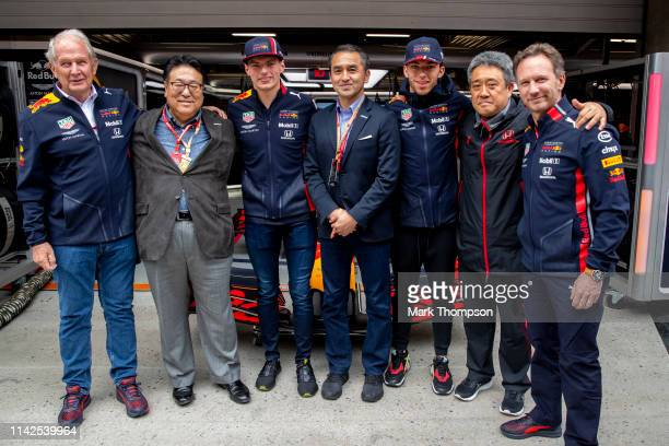 Red Bull Racing Team Consultant Dr Helmut Marko Executive Vice President of Honda Seiji Kuraishi Max Verstappen of Netherlands and Red Bull Racing...