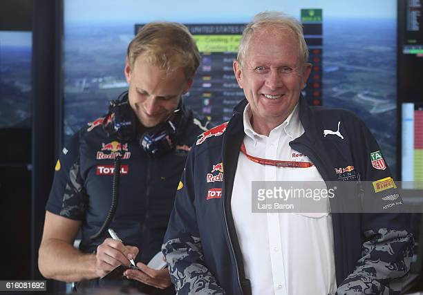 Red Bull Racing Team Consultant Dr Helmut Marko in the garage during practice for the United States Formula One Grand Prix at Circuit of The Americas...