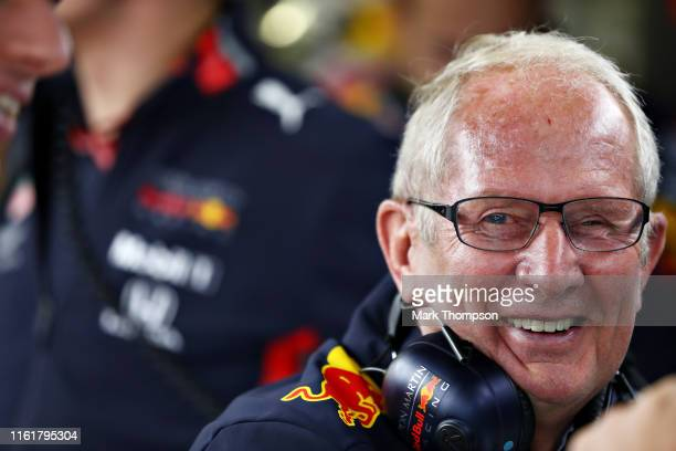 Red Bull Racing Team Consultant Dr Helmut Marko laughs in the garage during final practice for the F1 Grand Prix of Great Britain at Silverstone on...