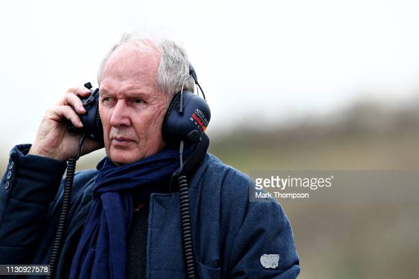 Red Bull Racing Team Consultant Dr Helmut Marko looks on during day three of F1 Winter Testing at Circuit de Catalunya on February 20 2019 in...