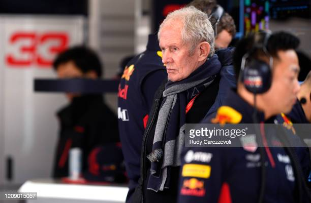 Red Bull Racing Team Consultant Dr Helmut Marko looks on in the garage during Day Two of F1 Winter Testing at Circuit de BarcelonaCatalunya on...