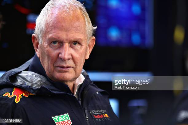 Red Bull Racing Team Consultant Dr Helmut Marko looks on in the garage during practice for the United States Formula One Grand Prix at Circuit of The...