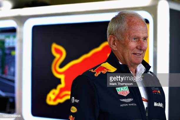 Red Bull Racing Team Consultant Dr Helmut Marko looks on in the garage during final practice for the Formula One Grand Prix of Mexico at Autodromo...