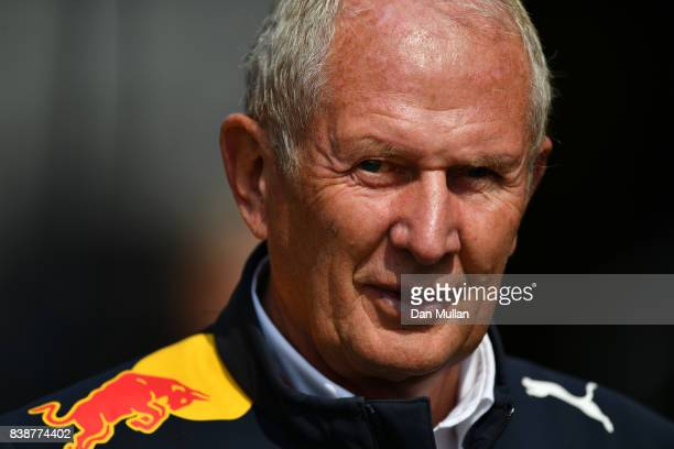 Red Bull Racing Team Consultant Dr Helmut Marko looks on in the Paddock during practice for the Formula One Grand Prix of Belgium at Circuit de...