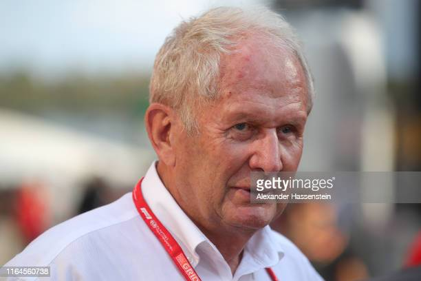 Red Bull Racing Team Consultant Dr Helmut Marko talks in the Paddock after qualifying for the F1 Grand Prix of Germany at Hockenheimring on July 27...