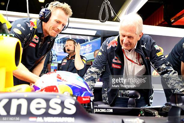 Red Bull Racing Team Consultant Dr Helmut Marko talks to Max Verstappen of Netherlands and Red Bull Racing in the car during practice for the Spanish...
