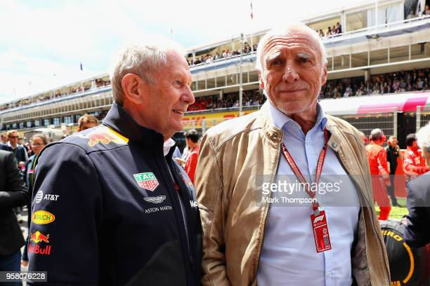 Red Bull Racing Team Consultant Dr Helmut Marko talks with Dietrich Mateschitz Red Bull owner before the Spanish Formula One Grand Prix at Circuit de...