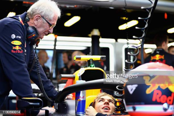 Red Bull Racing Team Consultant Dr Helmut Marko talks with Pierre Gasly of France and Red Bull Racing in the garage during practice for the F1 Grand...