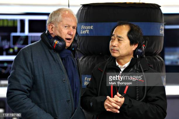Red Bull Racing Team Consultant Dr Helmut Marko talks with Toyoharu Tanabe of Honda in the Red Bull Racing garage during day four of F1 Winter...