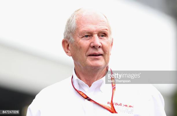 Red Bull Racing Team Consultant Dr Helmut Marko walks in the Paddock before practice for the Formula One Grand Prix of Singapore at Marina Bay Street...