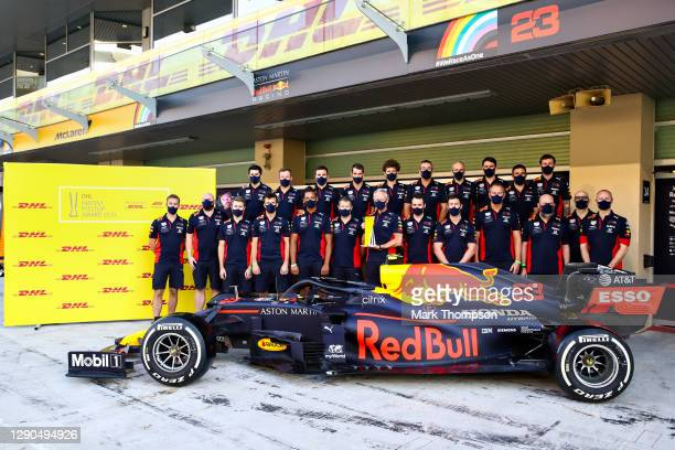 Red Bull Racing Team Manager Jonathan Wheatley and the Red Bull Racing team are presented with the 2020 DHL Fastest Pitstop Award during previews...